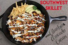 Quick and Easy Southwest Skillet with Cilantro and Avocado Cream