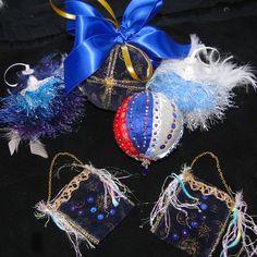 JOBLOT LUXURY UNIQUE HANDMADE CHRISTMAS DECORATIONS BAUBLES - BLUE COLLECTION