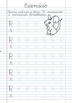 Atividade Letra R pontilhada para imprimir Alphabet Tracing Worksheets, Homeschool Worksheets, Tracing Letters, Cursive, Handwriting Practice, Kids Hands, Activities For Kids, Classroom, Lettering
