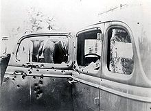 Bonnie and Clyde's shot up car