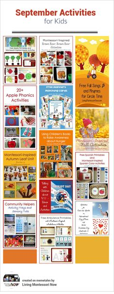 Calendar observances and Montessori-inspired themed activities throughout September