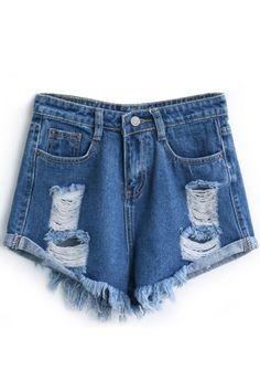 Dark Blue Loose Ripped Cuffed Denim Shorts Beautifulhalo #bhalo #beautifulhalo #fashion #michaelkors #h&m #outfit #dress #boots #jacket #denim #pants #jeans #sweater #sneakers #adidas #converse #prada #coat #bag #velvet #beanie #ugg #kimono #prada #zara #mk #fashion #shorts #blue