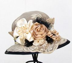 Edwardian Vintage Ladies Hat Style Summer Wide Brim Ribbon Work Flower | creationsbygail - Accessories on ArtFire