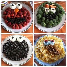 Veggie and Fruit platters for a Sesame Street birthday party. Perfect!