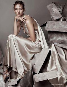 Take a Girl Like You - Karlie Kloss, Laurent & Larry Bourgeois by Patrick Demarchelier for Vogue UK December 2015 - Jenny Packham