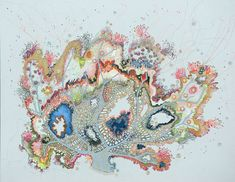 Of Land, Of Sea, Of Mind (detail),  95 cm x 120 cm, Free Machine Embroidery, Painting and Applique