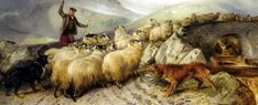 Collies herding sheep. Painting by Richard Ansdell (1815 - 1885), an English oil painter famous for pictures of animal and rural subjects.