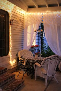 love this idea for the curtains - might help with the sun problem on our patio. CrCreate an inviting ambiance for dining and entertaining with an easy up-cycling DIY. Re-purposed Curtains for the Patio look lovely and romantic. Small Porches, Decks And Porches, Small Patio, Front Porches, Outdoor Rooms, Outdoor Living, Patio Curtains, Roman Curtains, Ikea Curtains