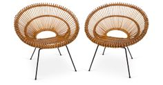 One Kings Lane - One Kings Lane Shops   - Rattan Circle Chairs, Pair