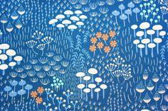 Elizabeth Olwen / Wildwood / Cloud 9 Fabrics / Organic Cotton / Floral Navy Blue / Quilting Crafting Sewing / Half Metre