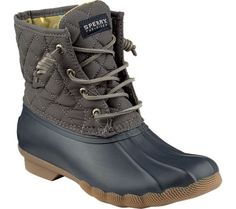 The Sperry Top-Sider Saltwater Quilted Duck Boot are made of waterproof rubber and treated, quilted nylon. With a seam sealed construction, these durable and long-lasting duck boots will keep your . Cute Shoes, Me Too Shoes, Look Fashion, Fashion Shoes, Teen Fashion, Fall Fashion, Fashion Outfits, Fashion Trends, Duck Boots Outfit