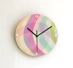 Wall clock soft pastel geometric home decor by ArtisEverything, $39.00