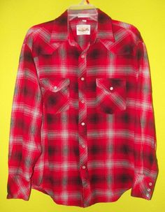 ROCKABILLY red Plaid Vintage Flannel Shirt Pearl Snaps Large by WINGARS