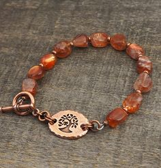 Sunstone tree bracelet, semiprecious stone beads, warm golden orange copper earthtones, 7 3/4 inches - Laurel Moon Jewelry