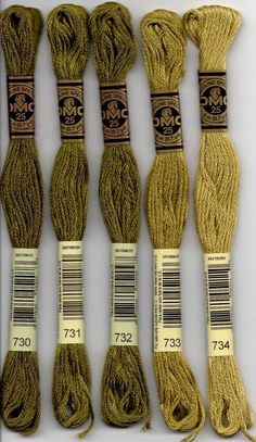 DMC six-stranded embroidery floss - 700 series. 700 - Bright Green; 701 - Green - Light; 702 - Kelly Green; 703 - Chartreuse; 704 - Bright Chartreuse; 712 - Cream; 718 - Plum; 720 - Orange Spice - Dark; 721 - Orange Spice - Medium; 722 - Orange Spice - Light; 725 - Topaz - Medium Light; 726 - Topaz - Light; 727 - Topaz - Very Light; 728 - Topaz; 729 - Old Gold - Medium; 730 - Olive Green - Very Dark; 731 - Olive Green - Dark; 732 - Olive Green; 733 - Olive Green - Medium; 734 - Olive Green…