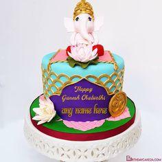Ganesh Chaturthi Wishes Cake With Name Editor Cake Templates, Congratulations Gift, Cake Name, Happy Ganesh Chaturthi, Cake Online, Editor, Wish, Birthday Cake, Names