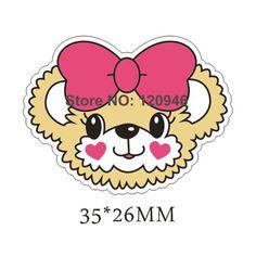 50pcs 35*26MM Red Hair Bow Love Bear Resin Flatback Kawaii Planar Resin DIY Craft Mobile Phone Decoration Accessories 70420-10