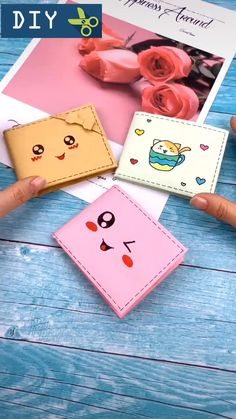 DIY: Beautiful and cute wallet origami Diy Crafts Hacks, Diy Crafts For Gifts, Diy Home Crafts, Diy Crafts Videos, Creative Crafts, Cool Paper Crafts, Paper Crafts Origami, Diy Paper, Crafts For Kids