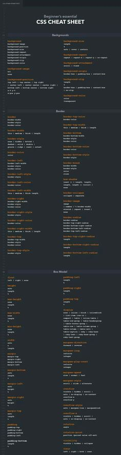 CSS cheat sheet containing backgrounds, borders, fonts, texts and many other categories. Whether you are a professional web developer or just starting out with CSS, this cheat sheet helps you to enhance your workflow. Site Web Design, Web Design Tips, Web Design Trends, Tool Design, Computer Coding, Computer Programming, Computer Science, Programming Languages, Css Cheat Sheet