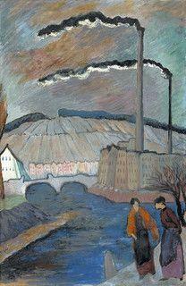 Marianne von Werefkin (Марианна Владимировна Веревкина; Russian/Swiss, 1860-1938)   Abendliche Flußuferpartie, c. 1914