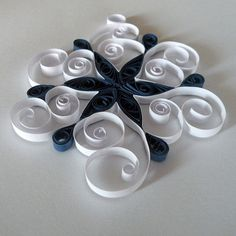 Pretty Navy Blue/White Quilled Ornament - by: Cheryl - A Paper Life