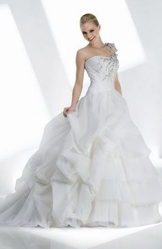 A-line One Shoulder Chapel Train Taffeta Floor-length Wedding Dresses