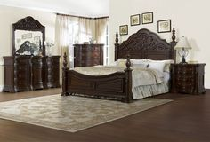 Pulaski Cassara Poster Bedroom Set Regal and refined, Cassara is a story of shape and distinct veneers. The cordovan finish and fin Pulaski Furniture, Regency Furniture, Bedroom Furniture Sets, Bed Furniture, Bedroom Sets, Dream Bedroom, Bedroom Benches, Wood Bedroom, Yurts