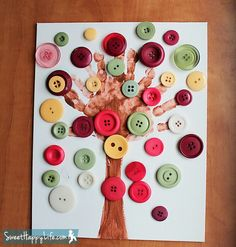 Handprint Button Tree Art Project: for Fall. Fall Art Projects, Craft Projects For Kids, Arts And Crafts Projects, Craft Ideas, Fall Preschool, Preschool Crafts, Preschool Ideas, Kids Crafts, Fall Crafts For Toddlers