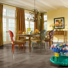 Refinish hardwood floors gray in Westchester., Believe it or not, gray hardwood flooring is in style! Here's how to get the gray look on your hardwood. Staining Hardwood Floors, Grey Flooring, Plank Flooring, Engineered Hardwood, Laminate Flooring, Floor Design, House Design, Armstrong Flooring, Colorful Chairs
