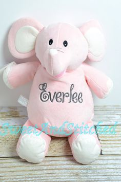 Pink ellie the elephant royal buddies elephant stuffed animal monogrammed stuffed animal is perfect baby gift for elephant themed nursery or baby shower negle Images