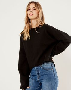 Raw Hem Cropped Sweat Black Bell Sleeve Top, Cute Outfits, Stylish, Blouse, Clothes, Black, Tops, Women, Fashion