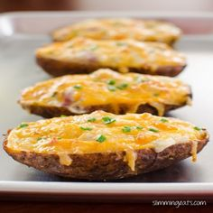 Slimming Eats Cheddar and Bacon Twice Baked Potatoes - gluten free, Slimming World and Weight Watchers friendly Slimming Eats, Slimming World Recipes, Twice Baked Potatoes, Double Baked Potatoes, Stuffed Baked Potatoes, Cooking Recipes, Healthy Recipes, Protein Recipes, Healthy Sweets