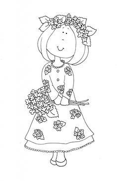 Hydrangea Girl | Dearie Dolls Digi Stamps