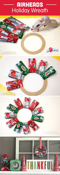 Your kids are going to love this Christmas decoration made out made out of their favorite candy, Airheads. This DIY Candy Christmas Wreath craft is a fun and festive project to create with your kids to prepare for the upcoming holidays! Hang this holiday wreath on your door for a welcoming and festive entryway!