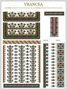 Semne Cusute: iie din Andries, Vrancea, MOLDOVA Cross Stitch Borders, Cross Stitch Designs, Cross Stitch Patterns, Folk Embroidery, Embroidery Patterns, Palestinian Embroidery, Moldova, Hama Beads, Beading Patterns