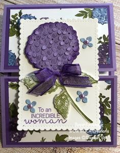 Card Making Tutorials, Making Ideas, Purple Cards, Fancy Fold Cards, Hydrangeas, Hydrangea Bloom, Mothers Day Cards, Stamping Up, Something Beautiful
