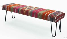 Bench upholstered with vintage Turkish kilim rug. Hairpin legs add a modern look. We use hand crafted steel legs specially coated and oven cured so they would not rust or peel. Kiln dried hardwood frame. This one-of-a-kind bench would serve as a practical and aesthetically appealing addition to your the living room, bedroom or hallway. Please contact us if you prefer other rugs or flatweaves for upholstery or other colors for the legs. Tiny rubber shoes included for protection on wooden…