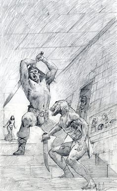 Conan the Raider [prelim]   Les Edwards   Prelim for the Tor edition of one of Leonard Carpenter's first contributions to the Conan series.