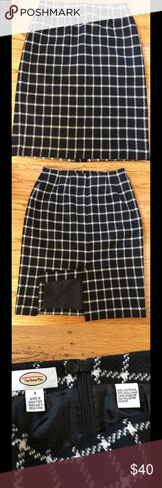 Talbots Window Pane Wool Skirt Talbots Window Pane Wool Skirt.  Black and soft white.  Size 4.  Fully lined.  Excellent used condition. Sorry, no trades. Talbots Skirts Midi