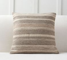 Warm up your space with the natural look and feel of our Kaye Textured Stripe Pillow Cover. Undyed wool is woven by hand, creating earthy striations that bring organic style to a favorite armchair or sofa. Neutral Pillows, Linen Pillows, Accent Pillows, Throw Pillows, Bed Linen, Patio Pillows, Pottery Barn, Velvet Quilt, Striped Cushions