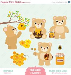 Honey Bear Digital Clipart