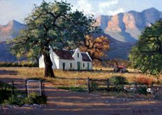 Painting by Roelof Rossouw Landscape Drawings, Landscape Art, Landscape Paintings, Africa Painting, Awsome Pictures, African House, Building Painting, House Painter, Cottage Art