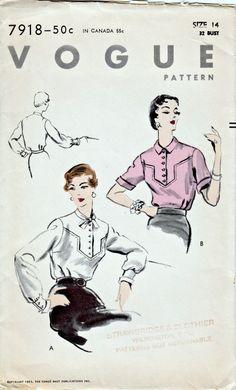 1950's Vintage Pattern  Vogue 7918  1953 by ShellMakeYouFlip, $22.00