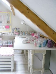 craft room with sloping walls. love this!