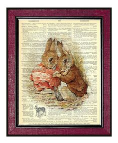 PETER RABBIT & BENJAMIN Book Page Art Dictionary by DogEarPrints,