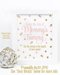 Baby Shower Games - How Big Is Mommy's Belly, Guess The Size of Mommy's Tummy, Blush Pink Gold Glitter Printable Baby Girl Shower Game Ideas
