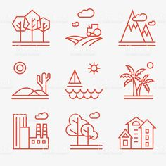 Landscape icons royalty-free stock vector art