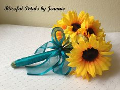 Sunflower Wedding Bouquet Sunflower Wedding by BlissfulPetals, $98.00