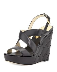 X2MRB MICHAEL Michael Kors Bennet Leather Wedge Sandal, Black