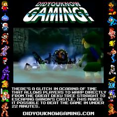 The Legend of Zelda: Ocarina of Time. There wasn't enough room in the image, but the glitch is actually triggered by beating Gohma and...